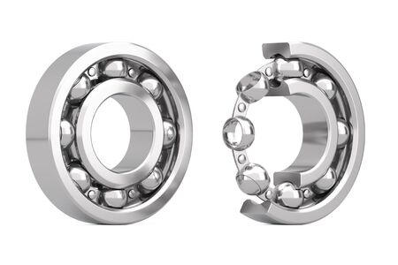 Set of Shiny Chrome Steel Ball Bearings with One Cut Outed Where Visible the Inner Parts on a white background. 3d Rendering Banque d'images