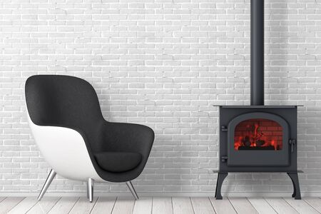 Modern Leather Oval Shape Relax Chair with Classic Оpen Home Fireplace Stove with Chimney Pipe and Firewood Burning in Red Hot Flame in front of brick wall. 3d Rendering