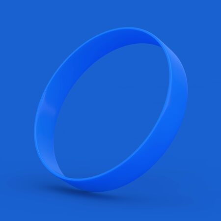 Blue Blank Promo Rubber or Silicone Hand Bracelet on a blue background. 3d Rendering