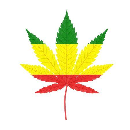 Medical Marijuana or Cannabis Hemp Leaf with Rastafarin Flag Colors on a white background. 3d Rendering Stock Photo