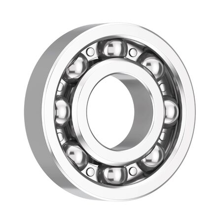 Shiny Chrome Steel Ball Bearing on a white background. 3d Rendering Banque d'images
