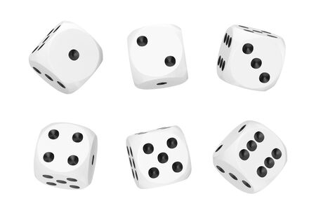 Casino Gambling Concept. Set of White Game Dice Cubes in Differetn Positions on a white background. 3d Rendering