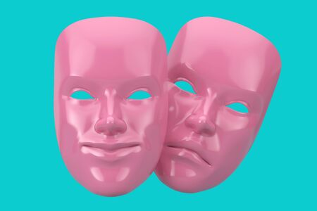 Pink  Smiling Comedy and Sad Drama Grotesque Theatre Mask in Duotone Style on a blue background. 3d Rendering 스톡 콘텐츠