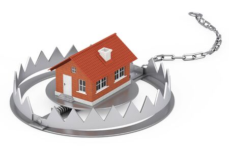 Metal Bear Trap with Cottage House Building on a white background. 3d Rendering