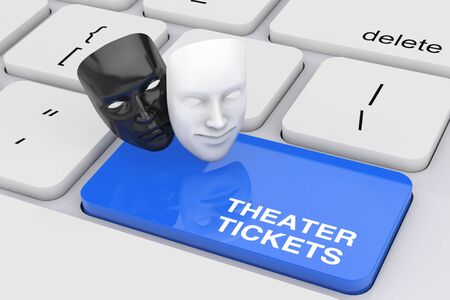 White Smiling Comedy and Black Sad Drama Grotesque Theatre Mask and Theater Tickets Sign over Blue Key on White PC Keyboard extreme closeup. 3d Rendering