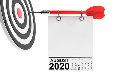 Calendar August 2020 on Blank Note Paper with Free Space for Your Design with Target. 3d Rendering Stock Photo