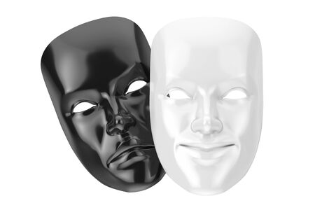 White Smiling Comedy and Black Sad Drama Grotesque Theatre Mask on a white background. 3d Rendering