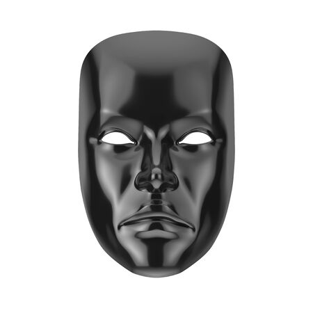 Black Sad Drama Grotesque Theatre Mask on a white background. 3d Rendering