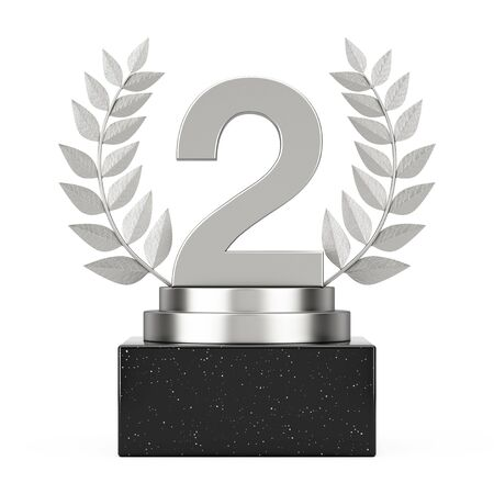 Winner Award Cube Silver Laurel Wreath Podium, Stage or Pedestal with Silver Number Two or Second Place on a white background. 3d Rendering