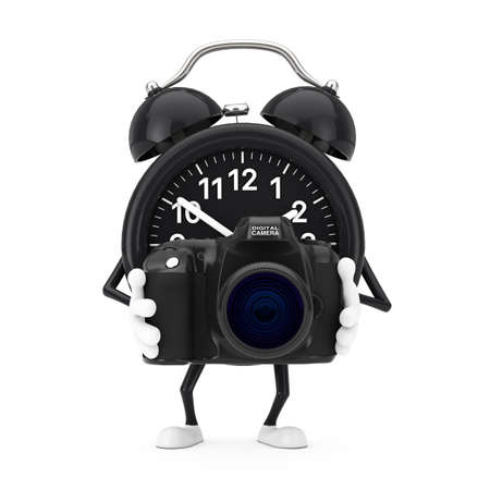 Alarm Clock Character Mascot with Modern Digital Photo Camera on a white background. 3d Rendering