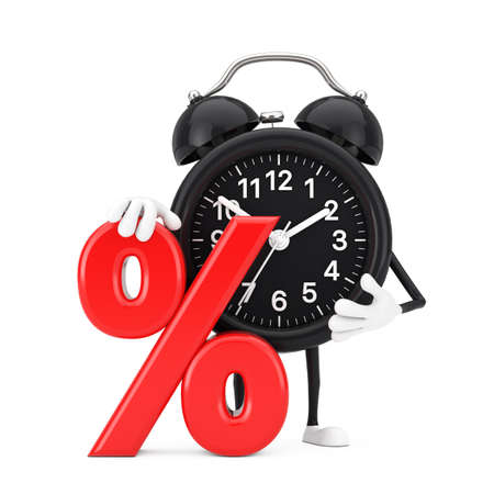 Alarm Clock Character Mascot with Red Retail Percent Sale or Discount Sign on a white background. 3d Rendering