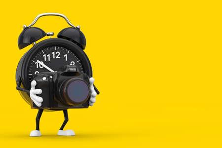 Alarm Clock Character Mascot with Modern Digital Photo Camera on a yellow background. 3d Rendering 版權商用圖片