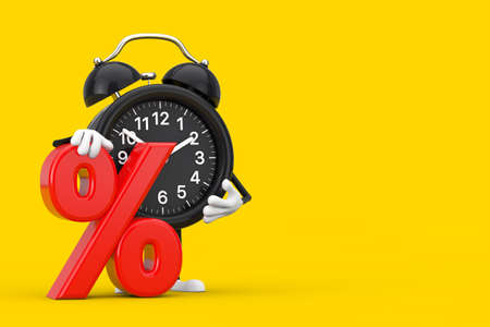 Alarm Clock Character Mascot with Red Retail Percent Sale or Discount Sign on a yellow background. 3d Rendering