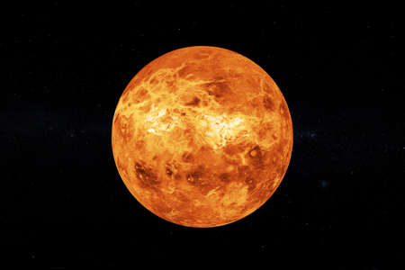 Solar System Concept. View of Full Big Planet Venus from Space on a black sky background. 3d Rendering