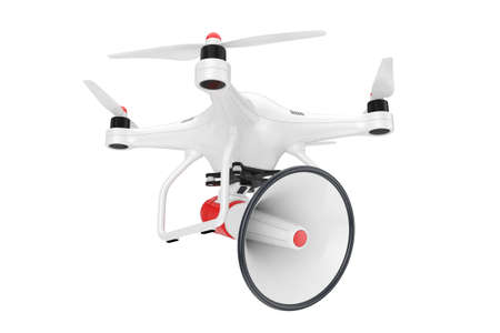 Drone with Bullhorn Megaphone on a white background. 3d Rendering