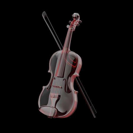 Classical Violin of Glass with Bow on a white background. 3d Rendering