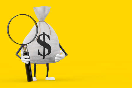 Tied Rustic Canvas Linen Money Sack or Money Bag and Dollar Sign Character Mascot with Magnifying Glass on a yellow background. 3d Rendering