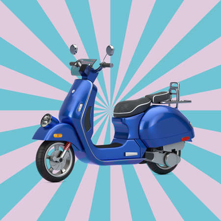 Blue Classic Vintage Retro or Electric Scooter on a Vintage Star Shape Pink and Blue background. 3d Rendering