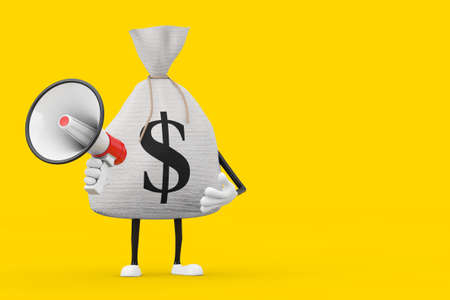 Tied Rustic Canvas Linen Money Sack or Money Bag and Dollar Sign Character Mascot with Red Retro Megaphone on a yellow background. 3d Rendering Imagens