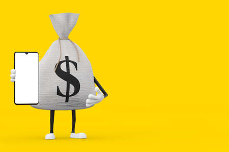 Tied Rustic Canvas Linen Money Sack or Money Bag and Dollar Sign Character Mascot with Modern Mobile Phone with Blank Screen for Your Design on a yellow background. 3d Rendering