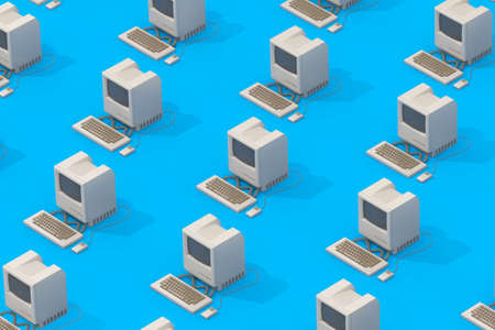 Rows of Retro Personal Computers in Isometric Style on a blue background. 3d Rendering Imagens