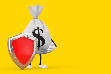 Tied Rustic Canvas Linen Money Sack or Money Bag and Dollar Sign Character Mascot with Red Metal Protection Shield on a yellow background. 3d Rendering