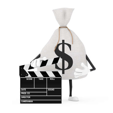 Tied Rustic Canvas Linen Money Sack or Money Bag and Dollar Sign Character Mascot with Movie Clapper Board on a white background. 3d Rendering Imagens