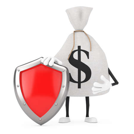 Tied Rustic Canvas Linen Money Sack or Money Bag and Dollar Sign Character Mascot with Red Metal Protection Shield on a white background. 3d Rendering