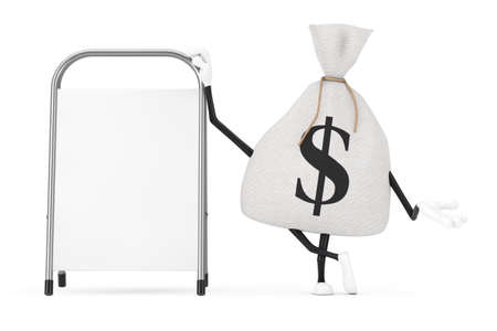 Tied Rustic Canvas Linen Money Sack or Money Bag and Dollar Sign Character Mascot with White Blank Advertising Promotion Stand on a white background. 3d Rendering Imagens