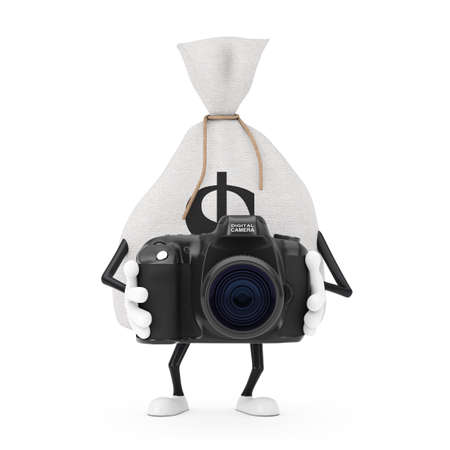 Tied Rustic Canvas Linen Money Sack or Money Bag and Dollar Sign Character Mascot with Modern Digital Photo Camera on a white background. 3d Rendering