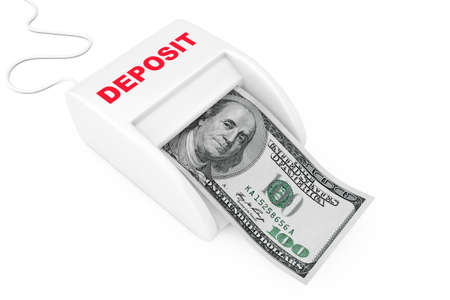 Make Money with Deposit Concept. Money Maker Deposit Machine with Dollars Banknote on a white background. 3d Rendering