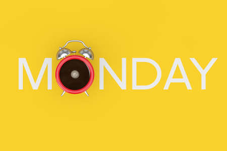 Cheerful Morning Concept. Red Alarm Clock in Shape of Cup of Black Coffe as Monday Sign on a yellow background. 3d Rendering