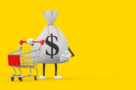 Tied Rustic Canvas Linen Money Sack or Money Bag and Dollar Sign Character Mascot with Shopping Cart Trolley on a yellow background. 3d Rendering