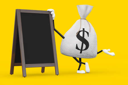 Tied Rustic Canvas Linen Money Sack or Money Bag and Dollar Sign Character Mascot with Blank Wooden Menu Blackboards Outdoor Display on a yellow background. 3d Rendering