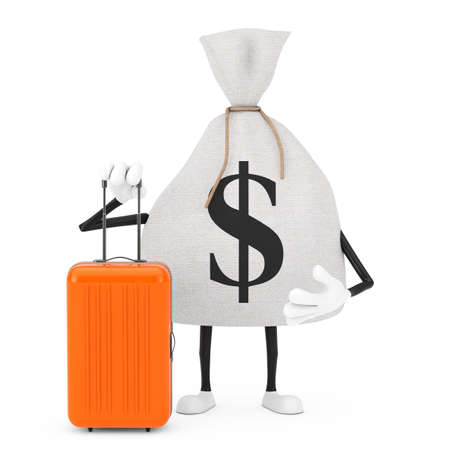 Tied Rustic Canvas Linen Money Sack or Money Bag and Dollar Sign Character Mascot with Orange Travel Suitcase on a white background. 3d Rendering