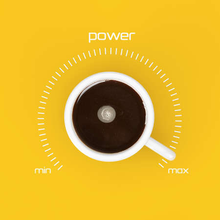 Top View of Cup of Black Coffe as Power Control at Maximum Value on a yellow background. 3d Rendering