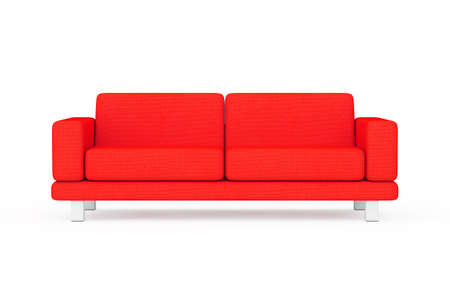 Red Simple Modern Sofa Furniture on a white and yellow background. 3d Rendering