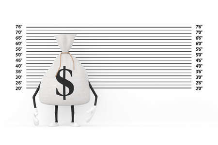 Tied Rustic Canvas Linen Money Sack or Money Bag and Dollar Sign Character Mascot in front of Police Lineup or Mugshot Background extreme closeup. 3d Rendering