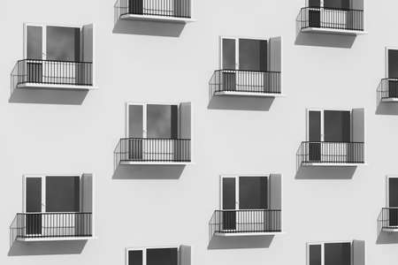 Urban Life Concept. Rows of Balconies on Modern Building extreme closeup. 3d Rendering Imagens