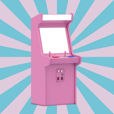 Pink Gaming Arcade Machine with Blank Screen for Your Design on a Vintage Star Shape Pink and Blue background. 3d Rendering