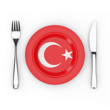 Turkish Food or Cuisine Concept. Fork, Knife and Plate with Turkey Flag on a white background. 3d Rendering