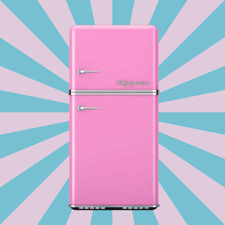 Retro Pink Refrigerator on a Vintage Star Shape Pink and Blue background. 3d Rendering