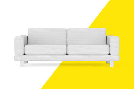 White Simple Modern Sofa Furniture on a white and yellow background. 3d Rendering
