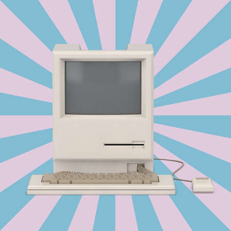 Retro Personal Computer on a Vintage Star Shape Pink and Blue background. 3d Rendering Imagens