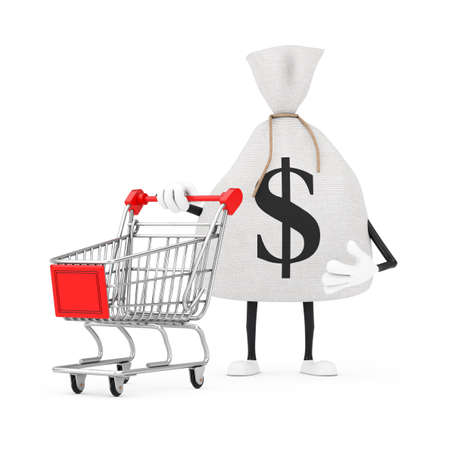 Tied Rustic Canvas Linen Money Sack or Money Bag and Dollar Sign Character Mascot with Shopping Cart Trolley on a white background. 3d Rendering