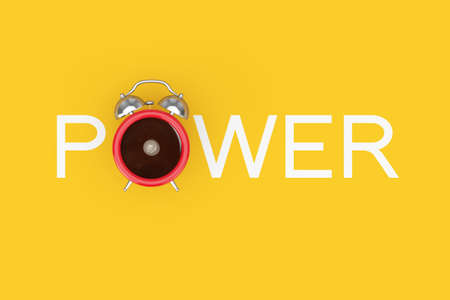 Alarm Clock Cup of Black Coffe as Power Sign on a yellow background. 3d Rendering Imagens