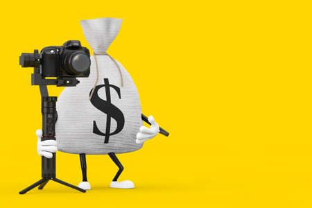 Tied Rustic Canvas Linen Money Sack or Money Bag and Dollar Sign Character Mascot with DSLR or Video Camera Gimbal Stabilization Tripod System on a yellow background. 3d Rendering