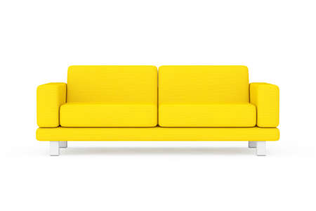 Yellow Simple Modern Sofa Furniture on a white and yellow background. 3d Rendering Imagens