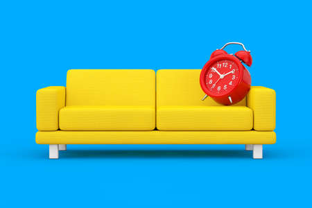 Red Alarm Clock with Yellow Simple Modern Sofa Furniture on a blue background. 3d Rendering