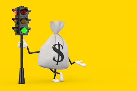 Tied Rustic Canvas Linen Money Sack or Money Bag and Dollar Sign Character Mascot with Traffic Green Light on a yellow background. 3d Rendering